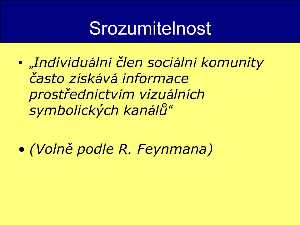 """Srozumitelnost """"Individuální člen sociální komunity často získává informace prostřednictvím vizuálních symbolických kanálů"""