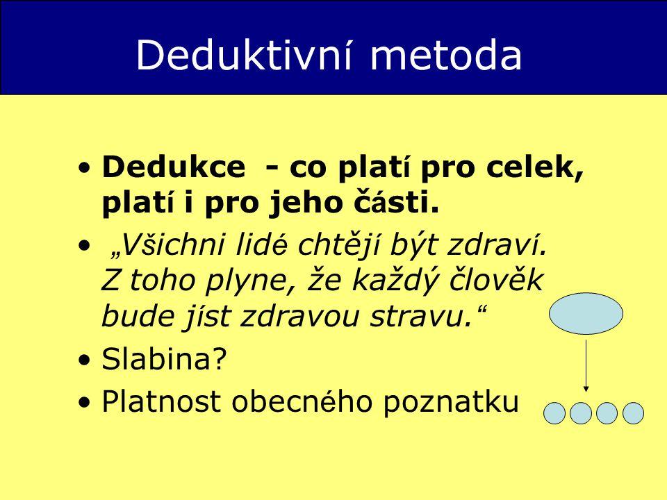 Deduktivní metoda Dedukce - co platí pro celek, platí i pro jeho části.