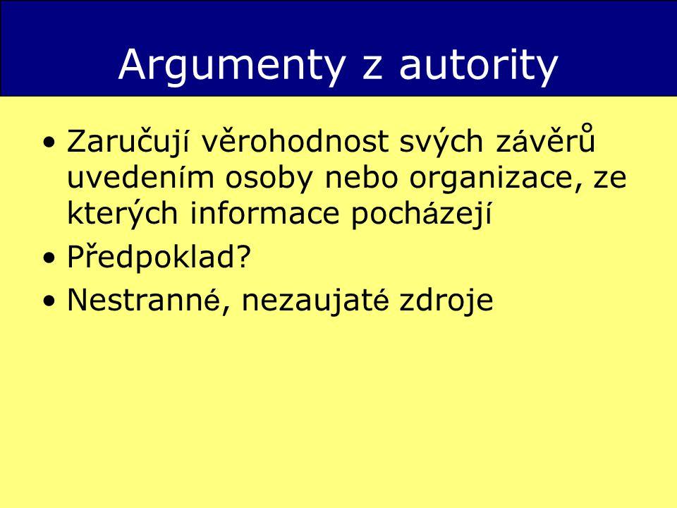 Argumenty z autority Zaručují věrohodnost svých závěrů uvedením osoby nebo organizace, ze kterých informace pocházejí.