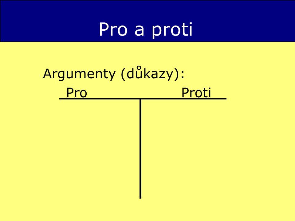 Pro a proti Argumenty (důkazy): Pro Proti