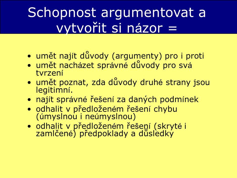 Schopnost argumentovat a vytvořit si názor =