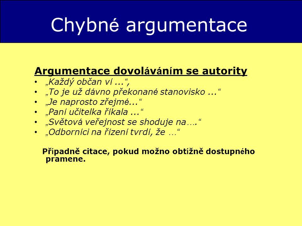 Chybné argumentace Argumentace dovoláváním se autority