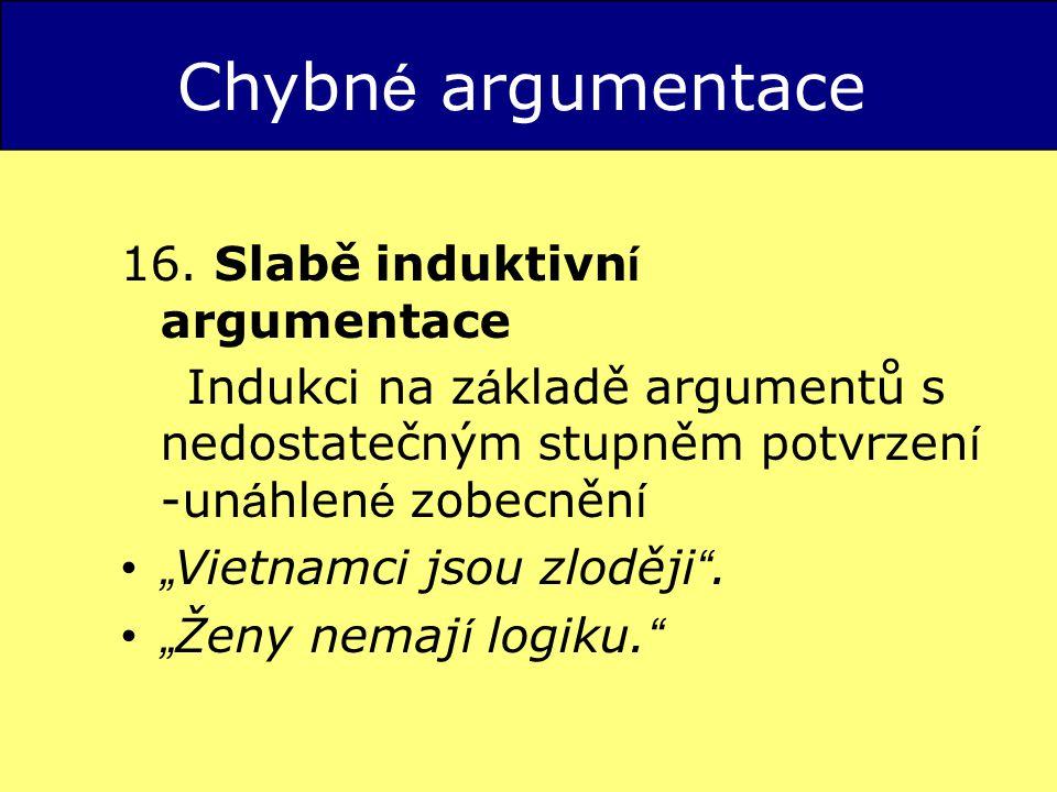 Chybné argumentace 16. Slabě induktivní argumentace