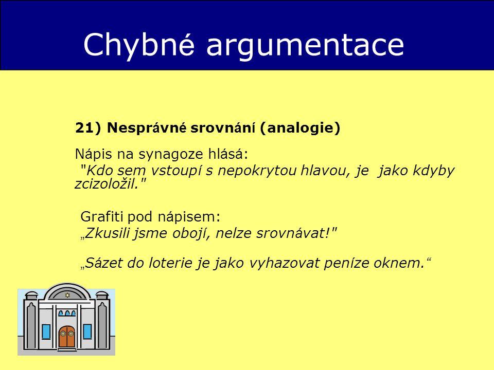 Chybné argumentace 21) Nesprávné srovnání (analogie) Nápis na synagoze hlásá: Kdo sem vstoupí s nepokrytou hlavou, je jako kdyby zcizoložil.