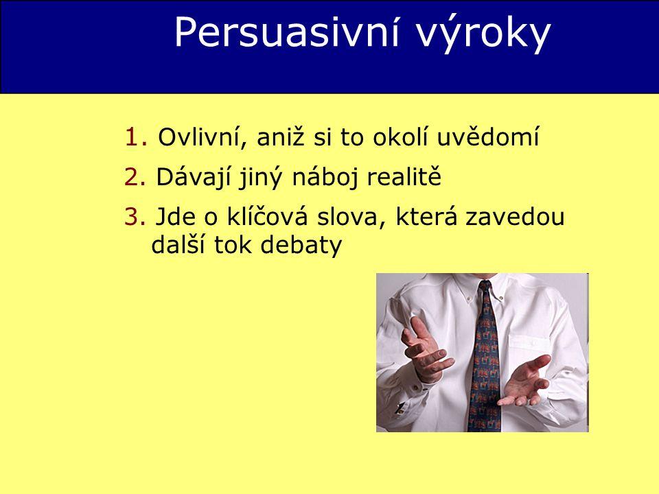 Persuasivní výroky 1. Ovlivní, aniž si to okolí uvědomí
