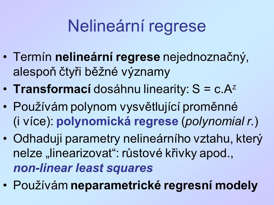 Nelineární regrese Termín nelineární regrese nejednoznačný, alespoň čtyři běžné významy. Transformací dosáhnu linearity: S = c.Az.