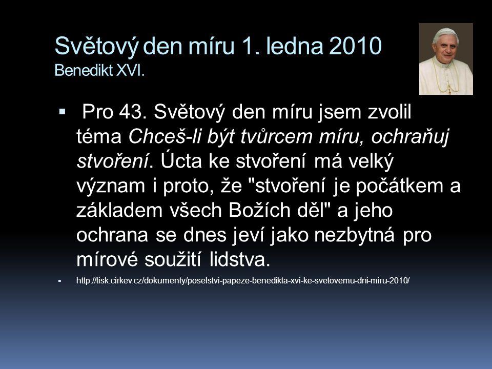 Světový den míru 1. ledna 2010 Benedikt XVI.