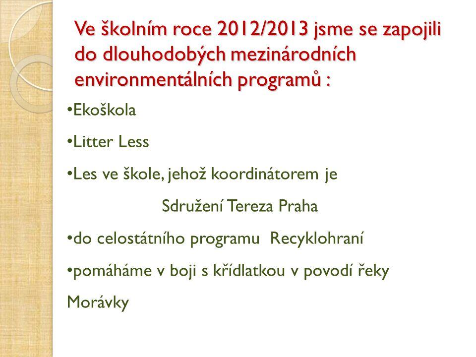 Ve školním roce 2012/2013 jsme se zapojili do dlouhodobých mezinárodních environmentálních programů :