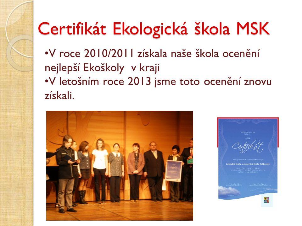 Certifikát Ekologická škola MSK