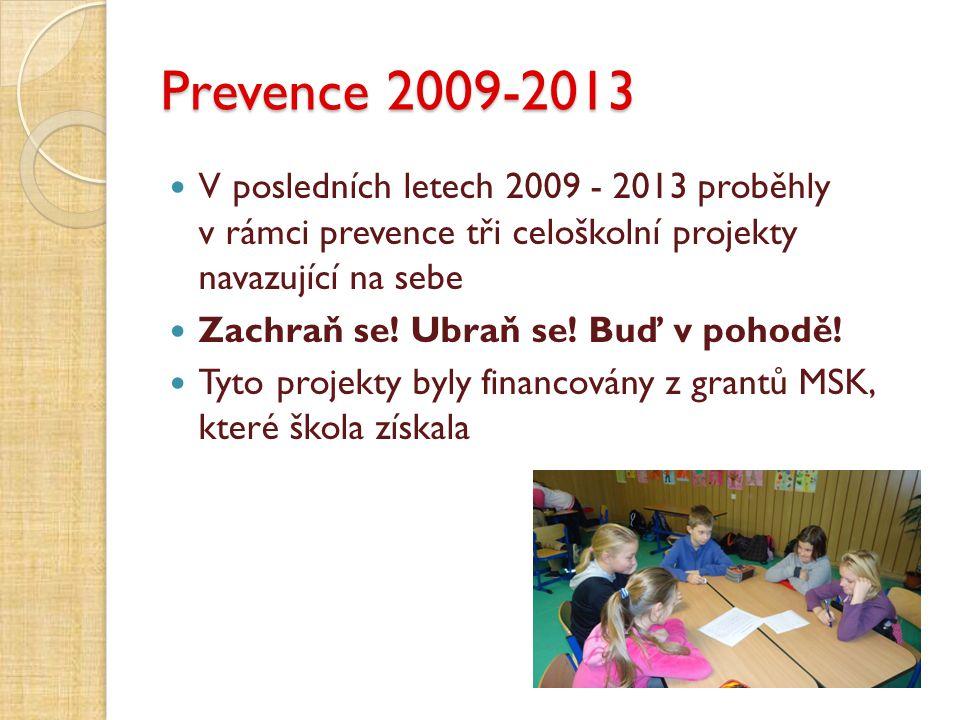 Prevence 2009-2013 V posledních letech 2009 - 2013 proběhly v rámci prevence tři celoškolní projekty navazující na sebe.