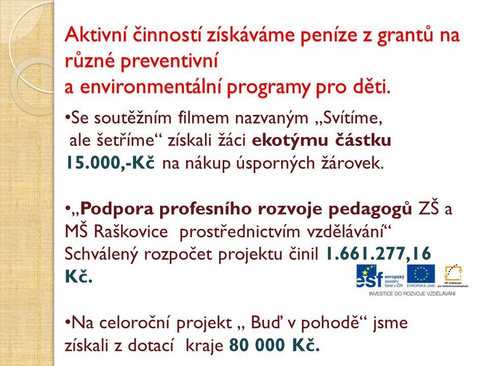 Aktivní činností získáváme peníze z grantů na různé preventivní