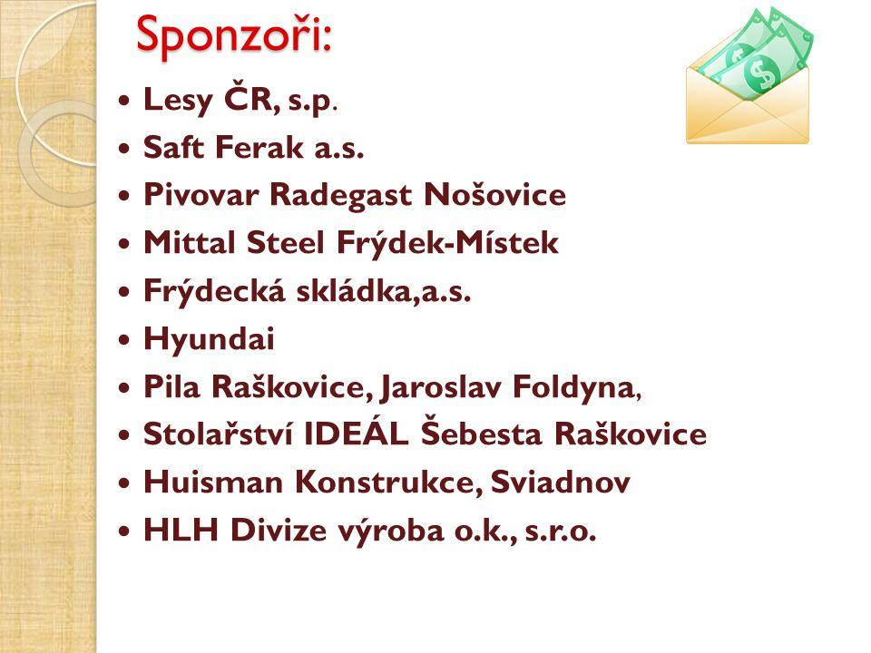 Sponzoři: Lesy ČR, s.p. Saft Ferak a.s. Pivovar Radegast Nošovice
