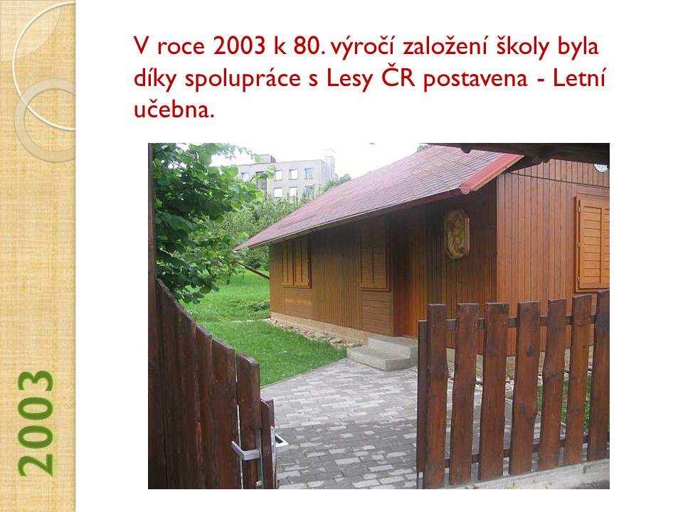 V roce 2003 k 80. výročí založení školy byla díky spolupráce s Lesy ČR postavena - Letní učebna.