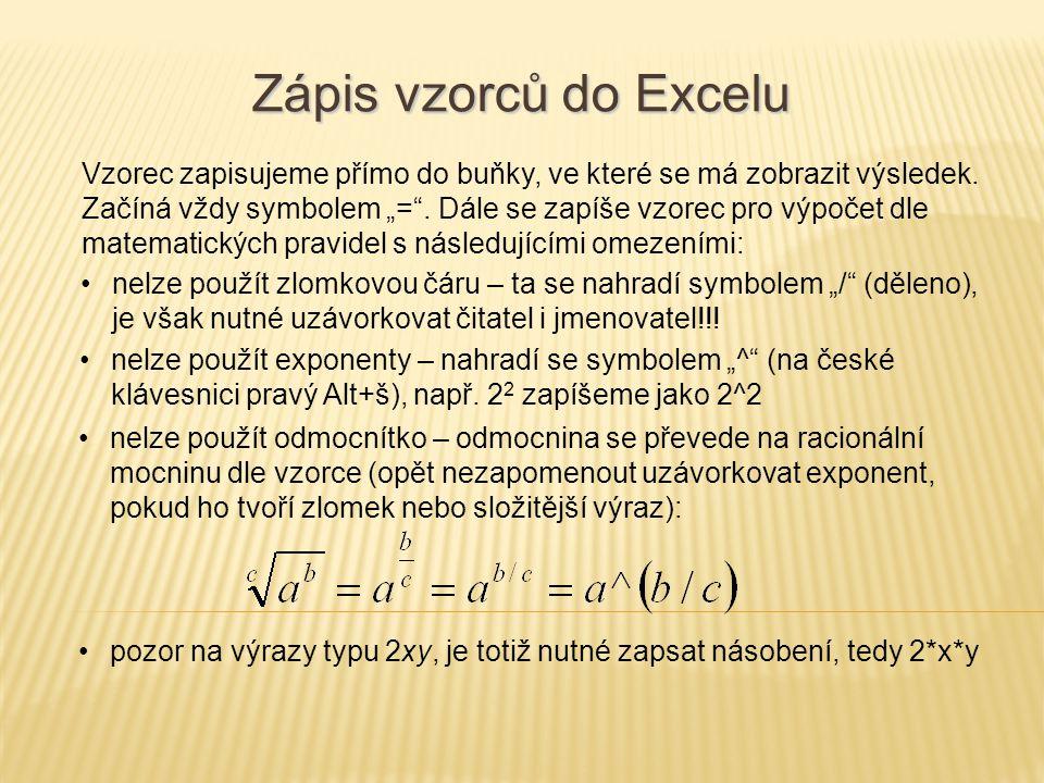 Zápis vzorců do Excelu