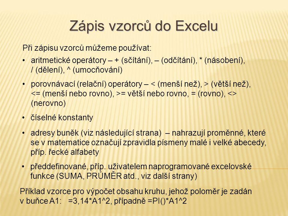 Zápis vzorců do Excelu Při zápisu vzorců můžeme používat: