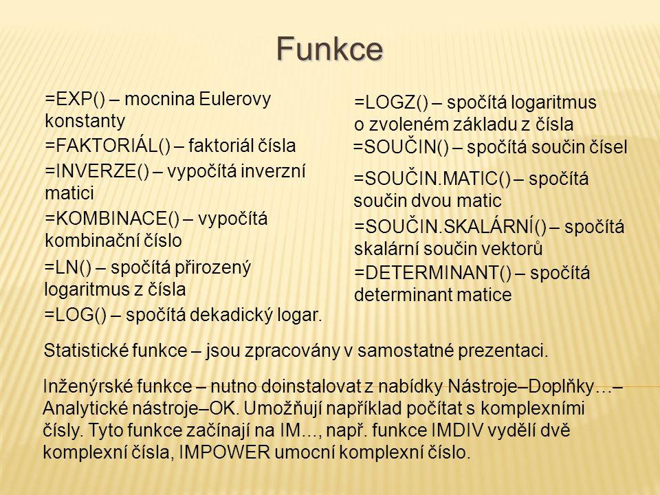Funkce =EXP() – mocnina Eulerovy konstanty