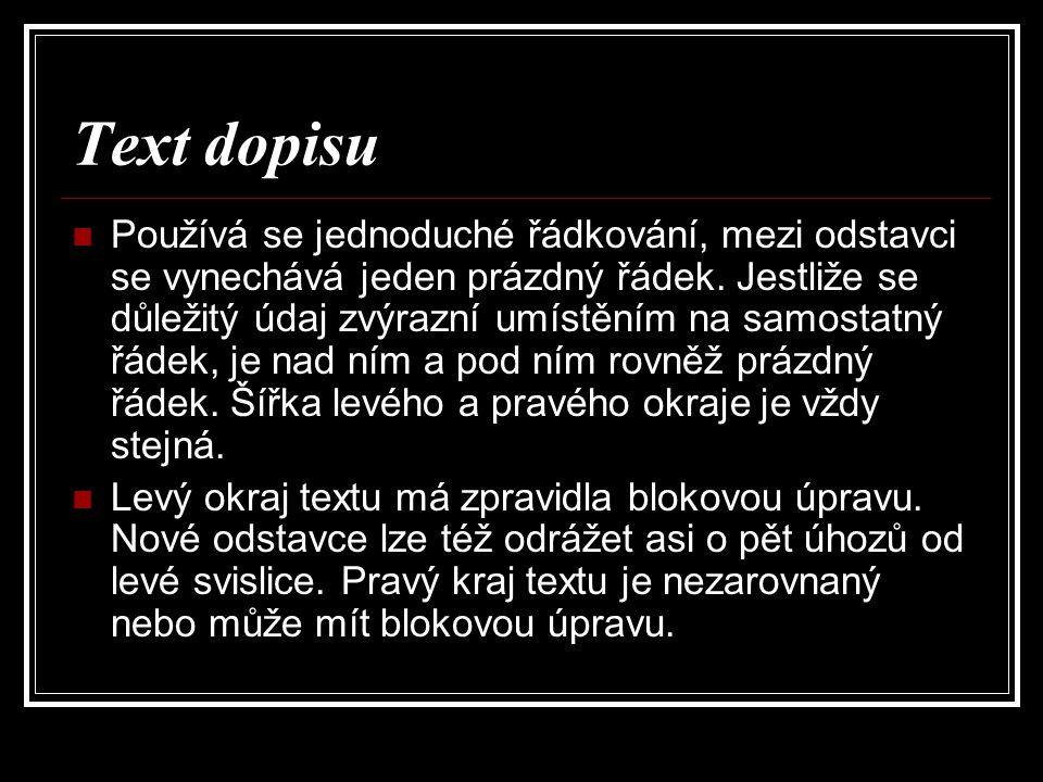 Text dopisu