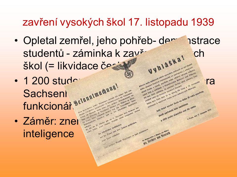 zavření vysokých škol 17. listopadu 1939