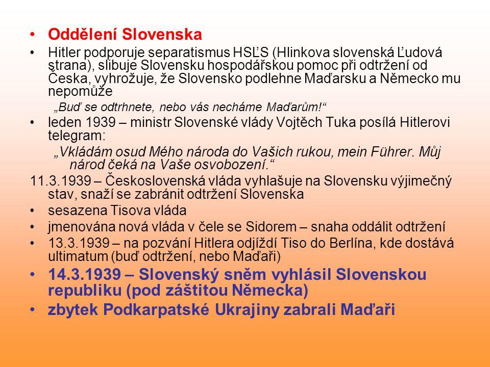 zbytek Podkarpatské Ukrajiny zabrali Maďaři