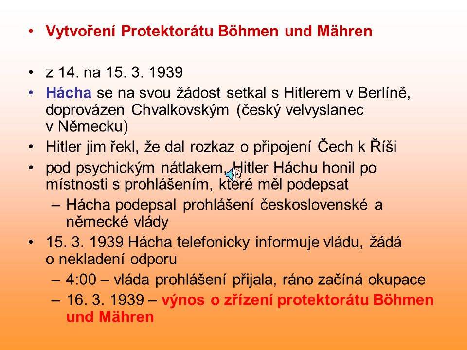 Vytvoření Protektorátu Böhmen und Mähren