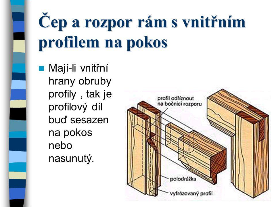 Čep a rozpor rám s vnitřním profilem na pokos
