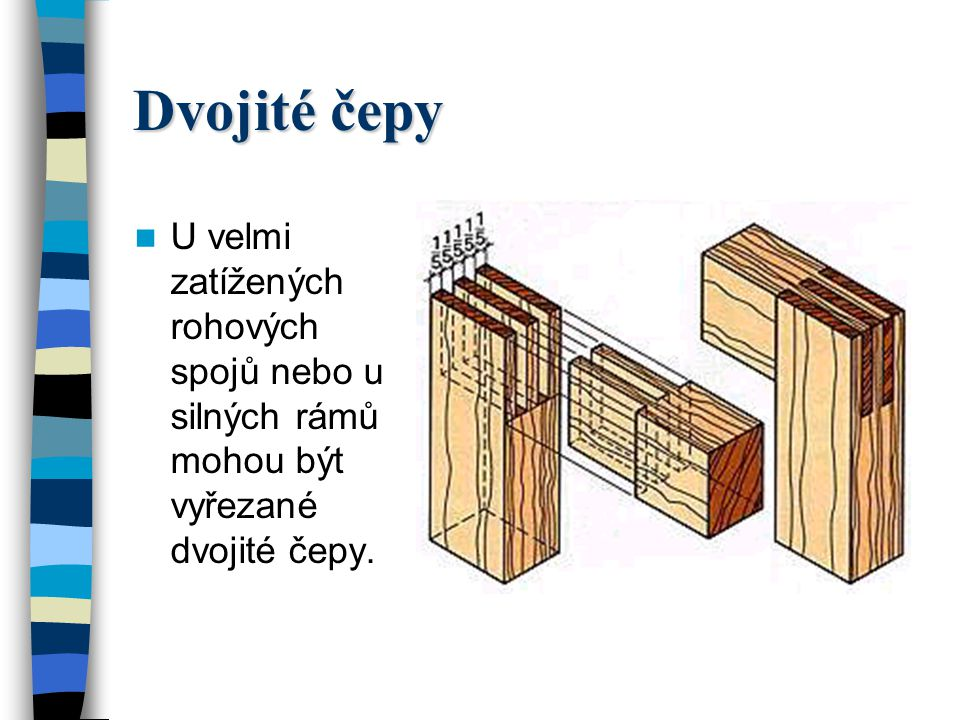 Dvojité čepy U velmi zatížených rohových spojů nebo u silných rámů mohou být vyřezané dvojité čepy.