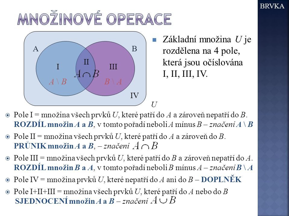 BRVKA Množinové operace. U. Základní množina U je rozdělena na 4 pole, která jsou očíslována I, II, III, IV.