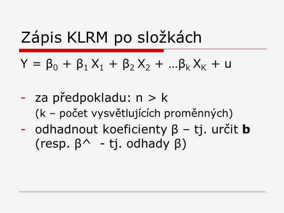Zápis KLRM po složkách Y = β0 + β1 X1 + β2 X2 + …βk XK + u
