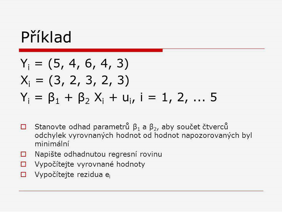 Příklad Yi = (5, 4, 6, 4, 3) Xi = (3, 2, 3, 2, 3) Yi = β1 + β2 Xi + ui, i = 1, 2, ... 5.