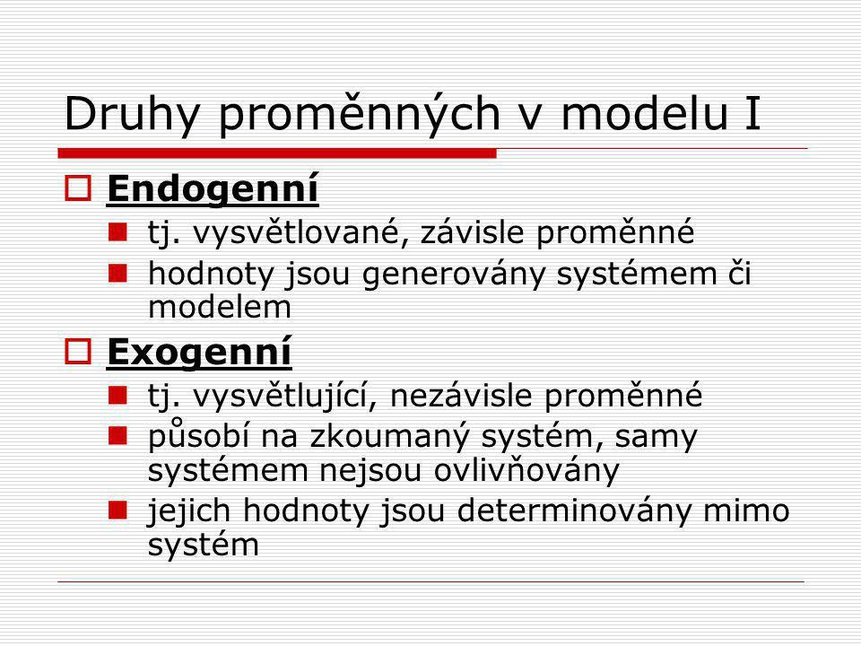 Druhy proměnných v modelu I