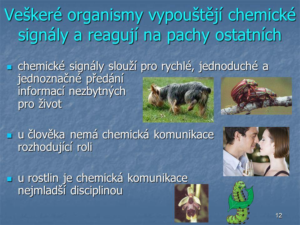 Veškeré organismy vypouštějí chemické signály a reagují na pachy ostatních