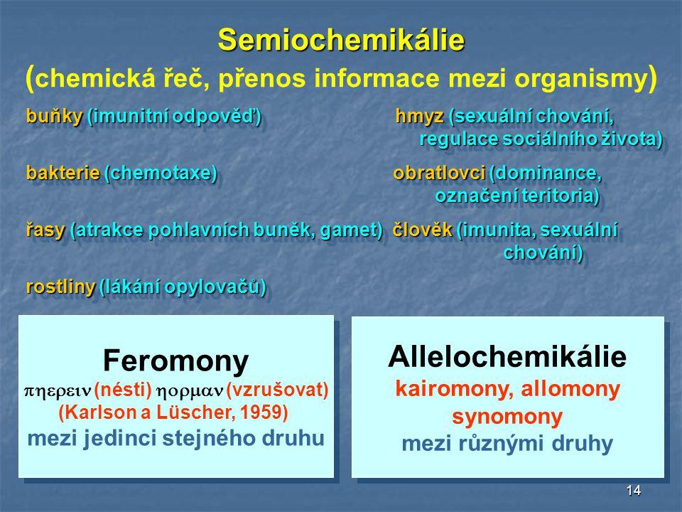 (chemická řeč, přenos informace mezi organismy)