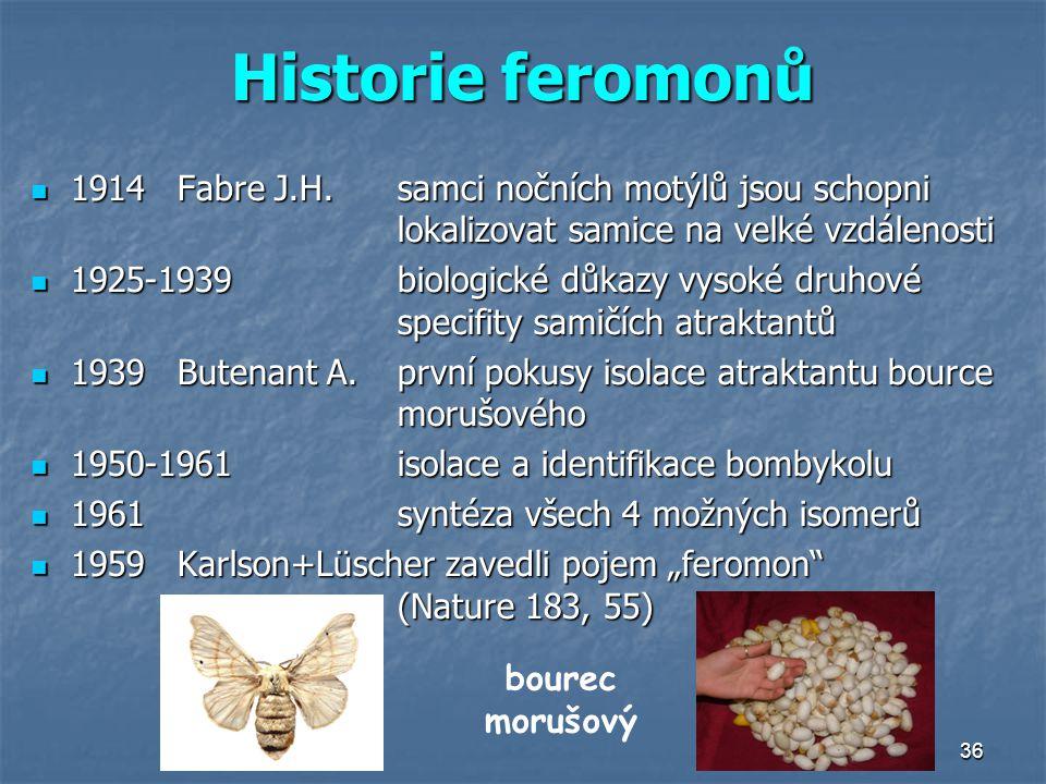 Historie feromonů 1914 Fabre J.H. samci nočních motýlů jsou schopni lokalizovat samice na velké vzdálenosti.