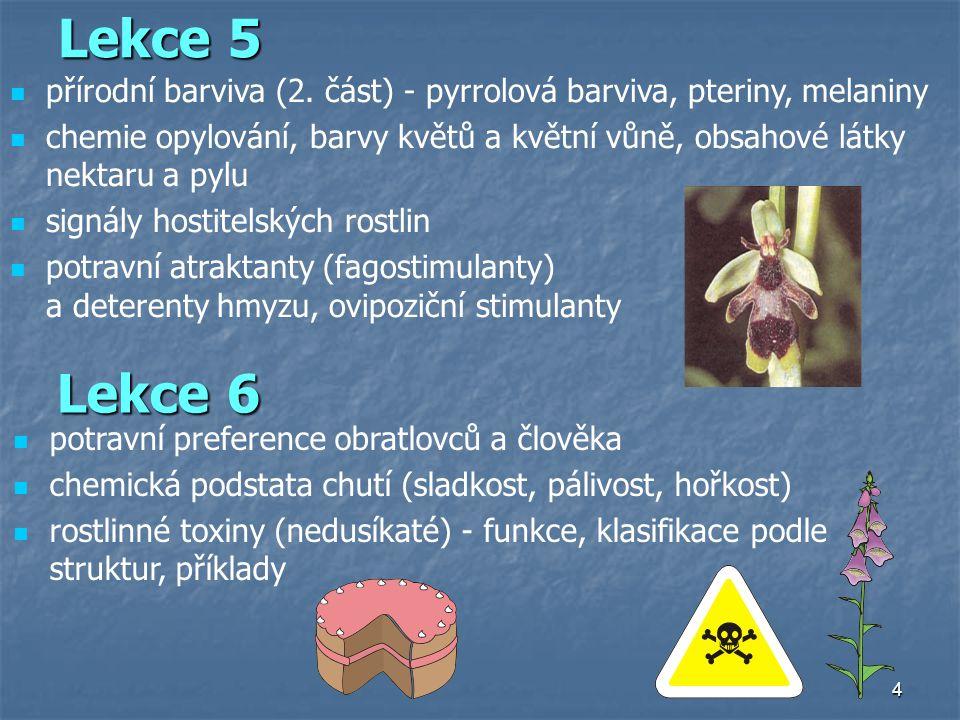 Lekce 5 přírodní barviva (2. část) - pyrrolová barviva, pteriny, melaniny.