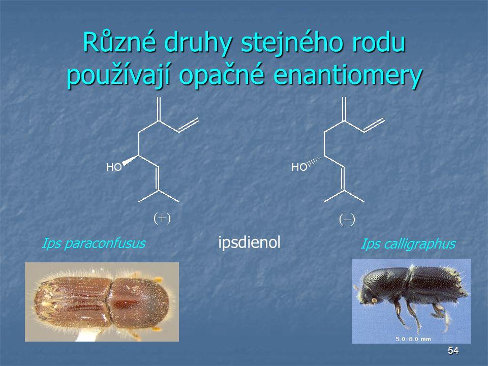 Různé druhy stejného rodu používají opačné enantiomery
