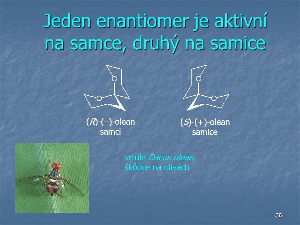 Jeden enantiomer je aktivní na samce, druhý na samice