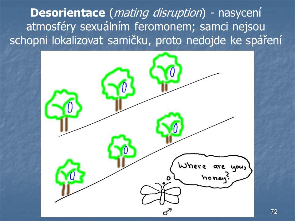 Desorientace (mating disruption) - nasycení atmosféry sexuálním feromonem; samci nejsou schopni lokalizovat samičku, proto nedojde ke spáření