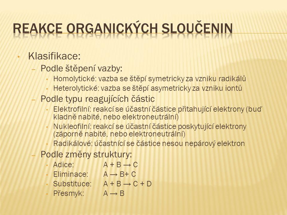 Reakce organických sloučenin