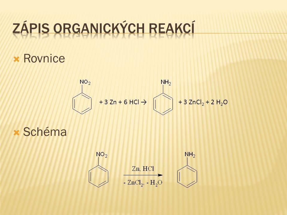 Zápis organických reakcí