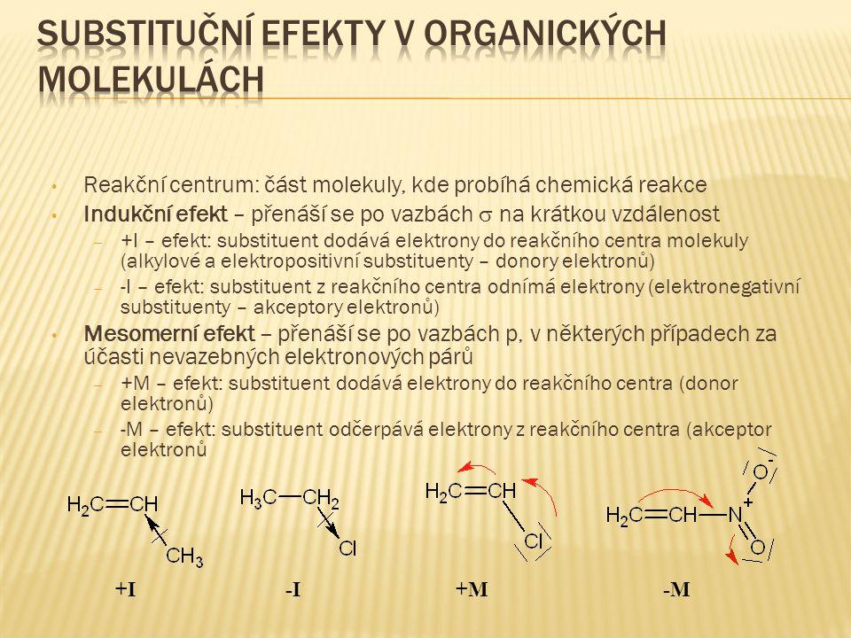 Substituční efekty v organických molekulách