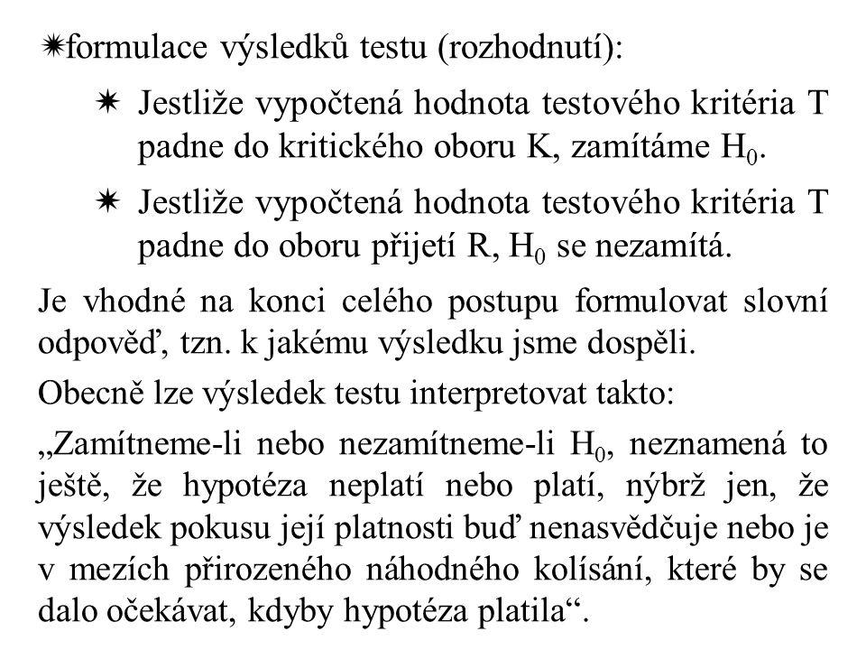 formulace výsledků testu (rozhodnutí):