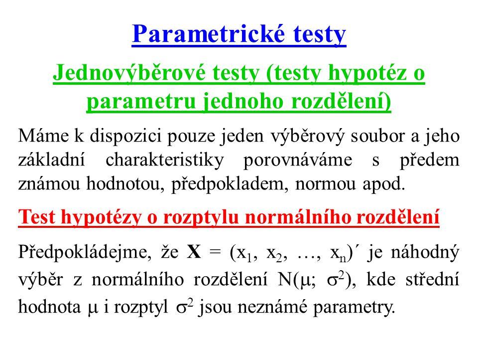 Jednovýběrové testy (testy hypotéz o parametru jednoho rozdělení)