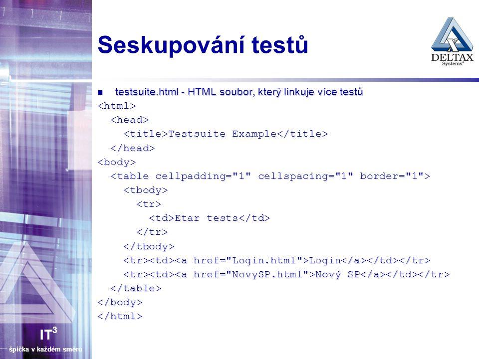 Seskupování testů testsuite.html - HTML soubor, který linkuje více testů. <html> <head> <title>Testsuite Example</title>