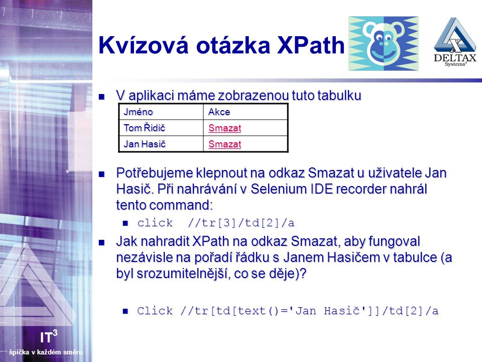 Kvízová otázka XPath V aplikaci máme zobrazenou tuto tabulku