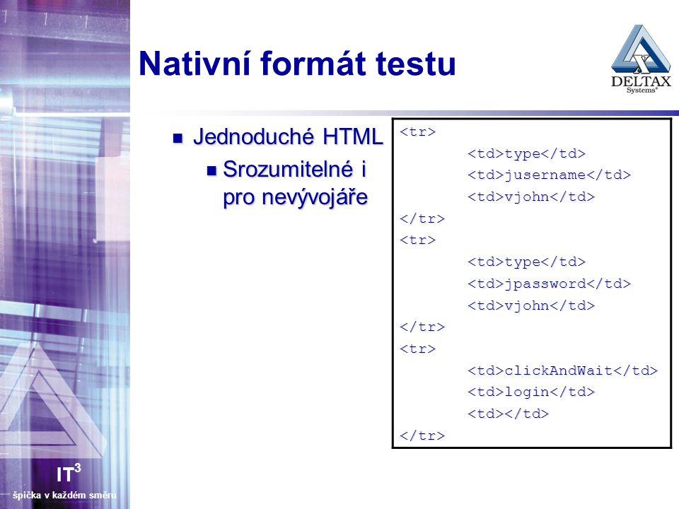 Nativní formát testu Jednoduché HTML Srozumitelné i pro nevývojáře