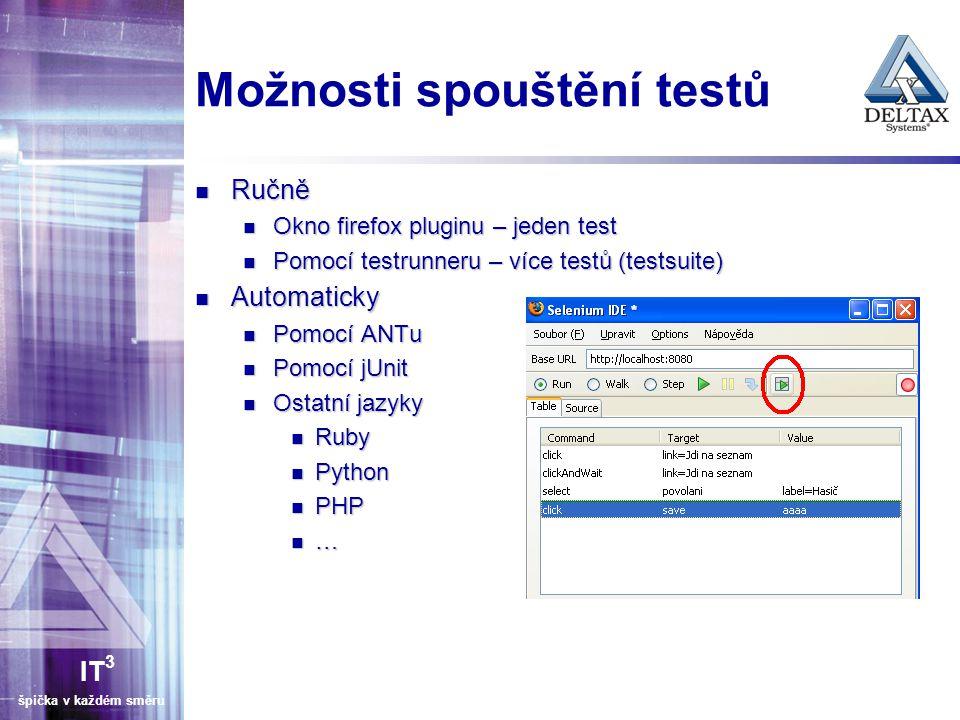 Možnosti spouštění testů