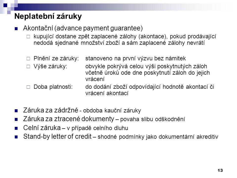 Neplatební záruky Akontační (advance payment guarantee)