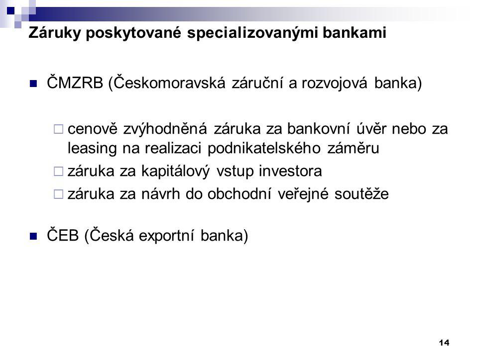 Záruky poskytované specializovanými bankami