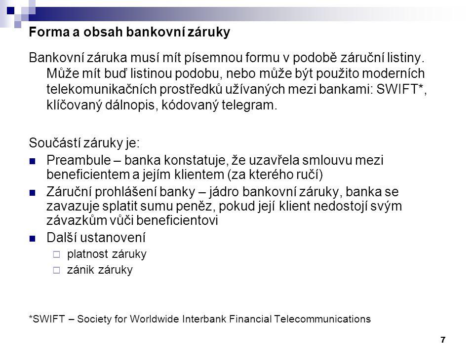 Forma a obsah bankovní záruky