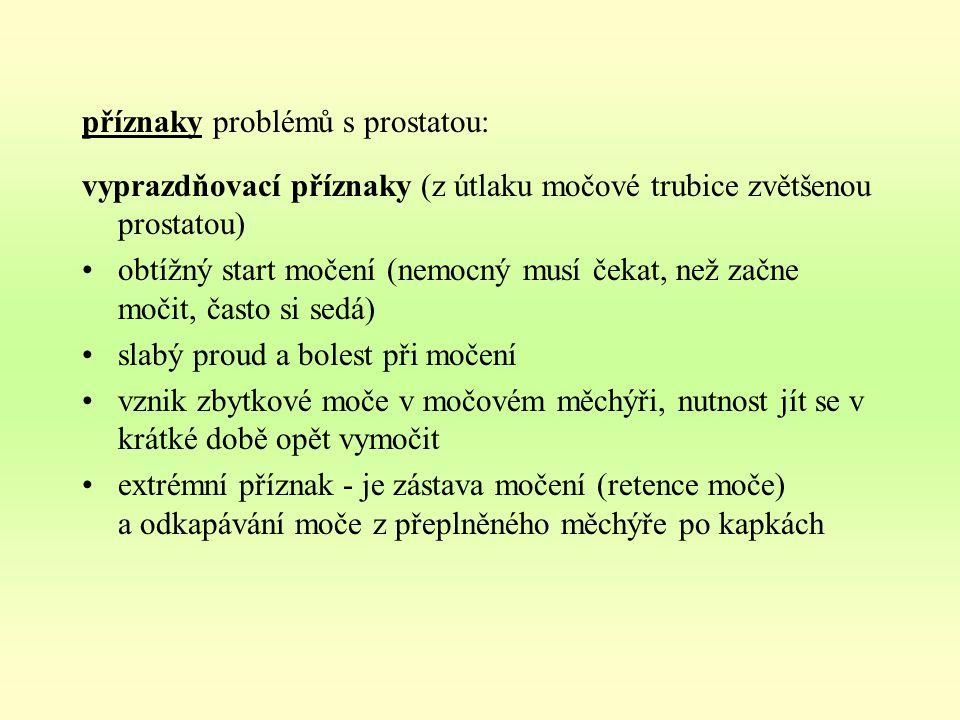 příznaky problémů s prostatou: